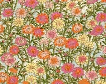 Chiyogami or yuzen paper - fresh daisy, shades of pink and tangerine, 9x12 inches
