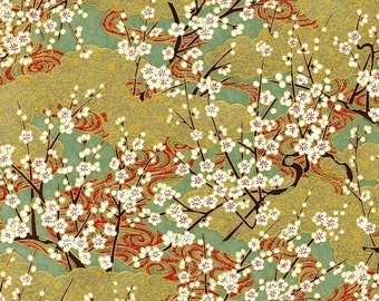 Chiyogami or yuzen paper - gold and green springtime blossoms, 9x12 inches