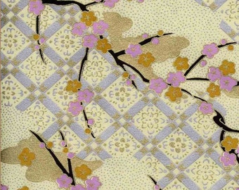 Chiyogami or yuzen paper - wispy plum branches with lavender and gold blossoms, 9x12 inches
