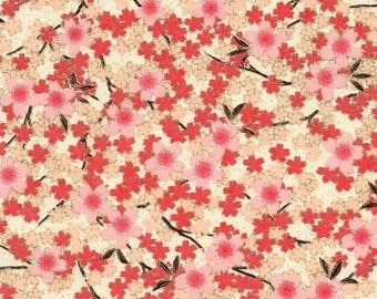 Chiyogami or yuzen paper - full bloom cherry blossoms - pink on ecru, 9x12 inches