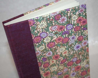 Handbound Lined Journal - fresh daisy, pink and mauve, 6x8.5, SALE