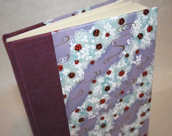 Handbound Unlined Journal - waves of lady bugs in purple and blue with gold, 6x8.5, SALE