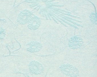 Japanese mum tissue paper - scattered mums and blooms in ajisai (bluebell), 2 letter-sized sheets