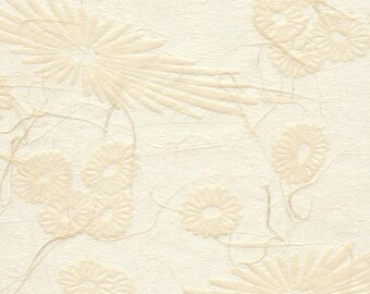 Japanese mum tissue paper - scattered mums and blooms in sandy beige, 2 letter-sized sheets