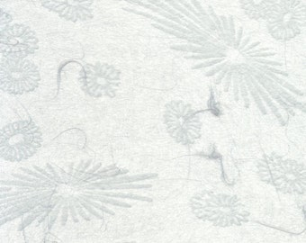 Japanese mum tissue paper - scattered mums and blooms in pewter, 2 letter-sized sheets