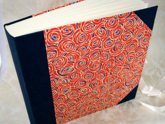 Handbound photo album - mission roses in red and purple, extra-large