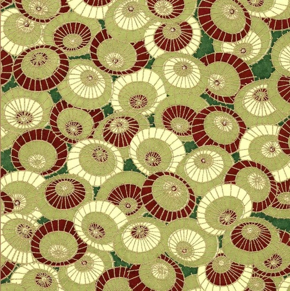 Chiyogami or yuzen paper - rainy day umbrellas - olive green and burgundy with gold, 9x12 inches