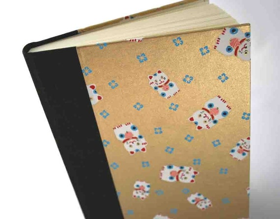 Handbound Lined Journal - lucky black cat with gold, SALE