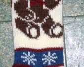 Festive Holiday Bear Knit Stocking Great for Christmas