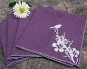 Organic Cotton Hemp Cloth napkins set Table Linens screenprint LITTLE BIRD