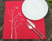 Cloth Dinner Napkins set Organic Cotton Hemp Table Linens screenprint red BAMBOO