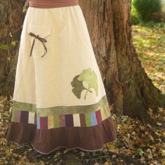 Organic Cotton Hemp Skirt Patchwork with Ginkgo Leaves ecofriendly