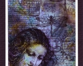 Contemplation (in blue) Digital ACEO hand colored with alcohol ink