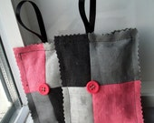 Patchwork Grey and Pink Linen Lavender Sachets - Pair
