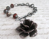Antique Silver Fire Polished Glass Beads and Silver Flower Bracelet