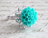 Turquoise Resin Cabochon Flower Silver Adjustable Filigree Ring