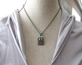 Oxidized Antique Brass Cage Silver Swallow Bird and Tiny Turquoise Flower Necklace