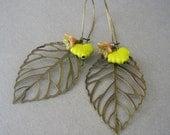 Brass and Czech Glass Leaf Earrings