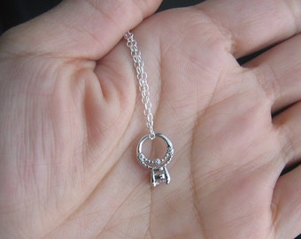 The Little Promise Ring Necklace, Sterling Silver Ring Charm Necklace
