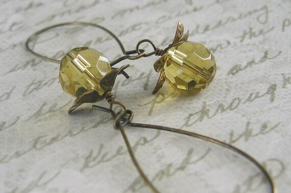 Amber Petal Brass Earrings