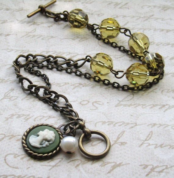 Cameo Amber Glass Bead and Freshwater Pearl Brass Bracelet
