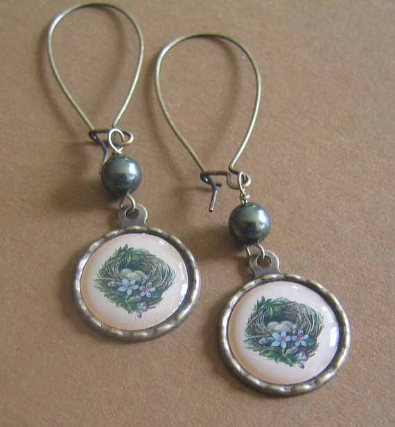 The Nest and Green Pearl Brass Earrings