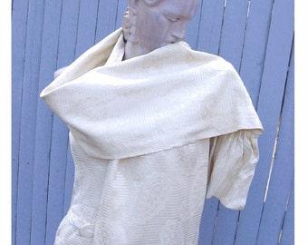 On SALE - Paisley Damask Brocade COUTURE Sheath Dress with RUFFLED Shawl