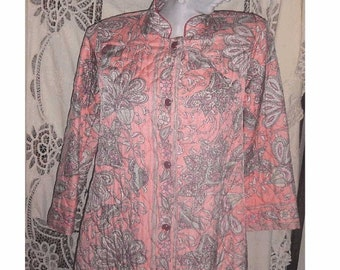 Vintage Designer Quilted Robe by KAYSER with Lovely PAISLEY JACOBEAN Flower Print - Unworn