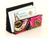 Fabric Desktop Business Card Holder Black Lime & Hot Pink