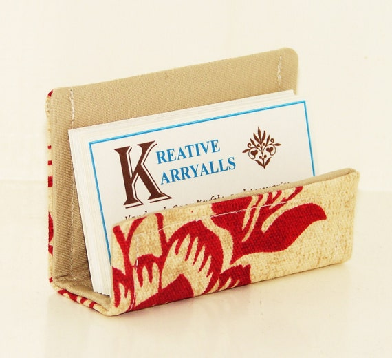 CLEARANCE Fabric Desktop Business Card Holder Red and Tan Flowers
