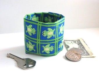 Kids Secret Stash Money Cuff- Frog Lover - hide your lunch money, secret notes, health info in a hidden zipper