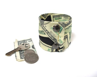 "Money Cuff-  Secret Stash - ""Money Money Money""- Hide your cash, key, jewels in a secret zipper"