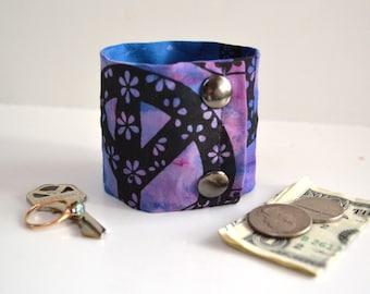 """Money Cuff Wrist Wallet- """"Secret Stash""""- PEACE - hide your cash, key, jewels, health info, in a hidden zipper."""