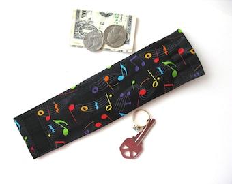 Kids Secret Stash Money Cuff- Music Notes- hide your lunch money, house key ,secret notes, health info in a hidden zipper