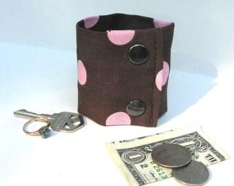 "Money  Wrist Cuff - ""Secret Stash""- Wild Brown/Pink Dots- hide your cash , jewels, house key in a hidden inside zipper"