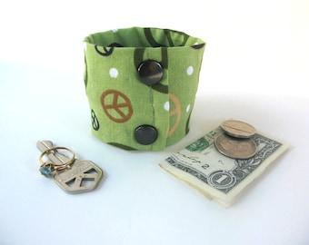 "Money Wrist  Cuff - ""Secret Stash""- ""Peace Forever"" ""  hide your cash, key, jewels,  in a hidden inside zipper"