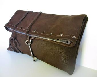 """Leather Clutch- """"Henri Matisse""""  Chocolate Brown - soft, organic, sensual, classic"""