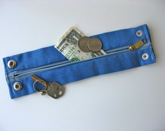 Secret Stash Money Wrist Cuff- Blue Denim- MEDIUM ONLY for this cuff! hide your cash, key, jewels in a secret inside zipper