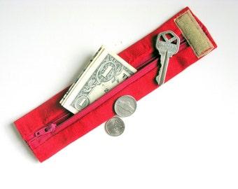 KIDS- Secret Stash Wrist Money Cuff- Fire Engine Red- hide your cash, house key, health info inside a secret zipper