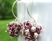 Claret Cluster Earrings- Garnet with Sterling Silver