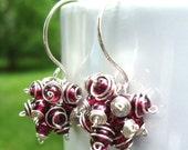 Claret Cluster Earrings- Garnet with Sterling Silver