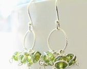 August Circle Cluster Earrings -Sterling Silver and Peridot