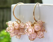 Honeysuckle Cluster Earrings- Rose Quartz with Gold Filled Wire