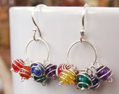 Rainbow Circle Cluster Earrings- Gemstones and Sterling Silver RESERVED for 12aj