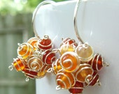 Harvest Cluster Earrings- Orange Agate and Sterling Silver