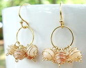 Pink Opal Circle Cluster Earrings- Pink Opal and Gold Filled