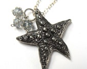 Wish Upon a Starfish Necklace- Pewter Charm with Blue Green Fluorite and Sterling Silver