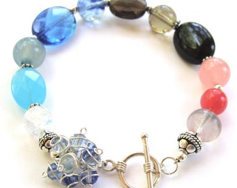 Bag of Marbles Bracelet -Sterling Silver with Jade, Quartz, Fluorite and Onyx