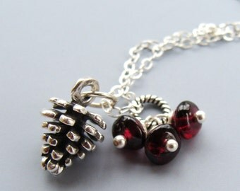 Garnet Pinecone Necklace- Garnet with Sterling and Fine Silver