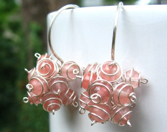 Cherry Cluster Earrings -Cherry Quartz and Argentium Sterling Silver